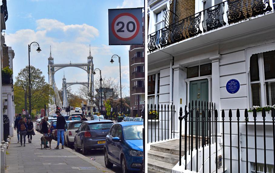 London, Chelsea, Bob Marley House, Albert Bridge