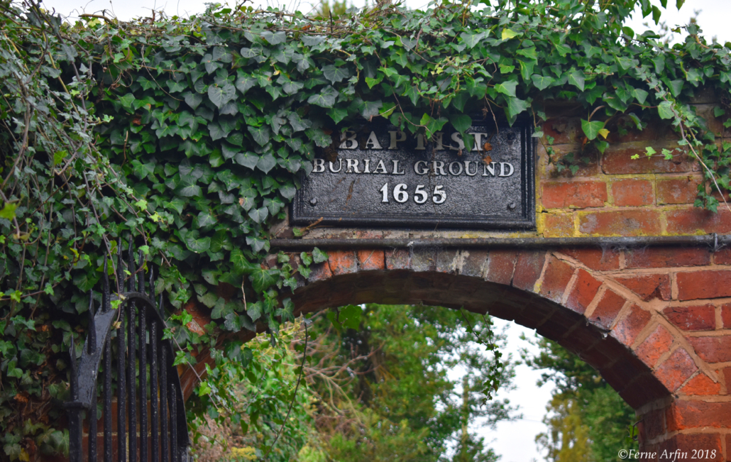 Old burial ground at the end of Old Baptist Chapel Court, one of 30 ancient lanes that wind through the town