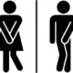 Stylized Men's Room and Women's Room signs
