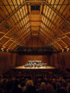 Chamber orchestera and soloist in Snape Maltings Concert Hall.