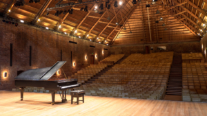 Empty Snape Maltings Concert Hall with grand piano