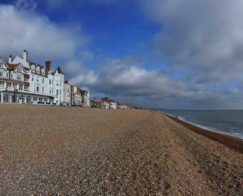 Exterior view of the Hotel Brudenell on Aldeburgh Beach