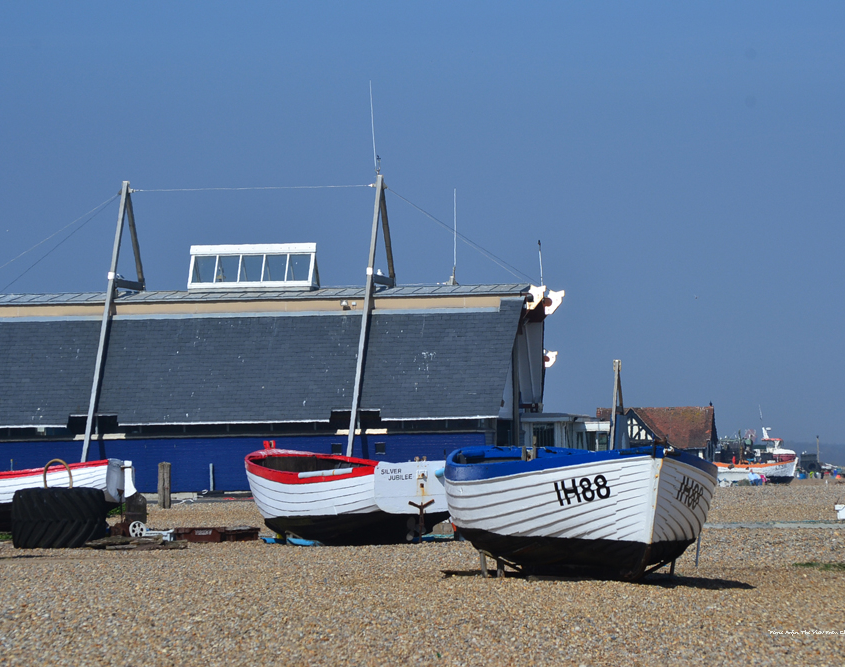 Heritage fishing boats near the lifeboat station on Aldeburgh Beach