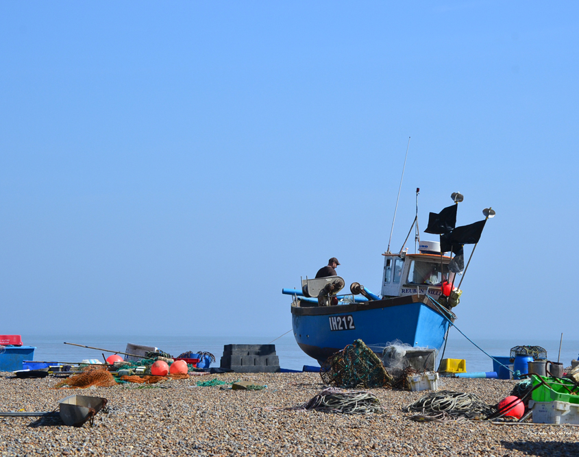 Fishing boat beached on Aldeburgh Beach