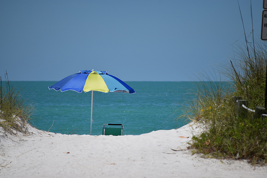 Blue and yellow beach umbrella and beach chair on white sand beach with beach grass. Gulf of Mexico from Anna Maria Island