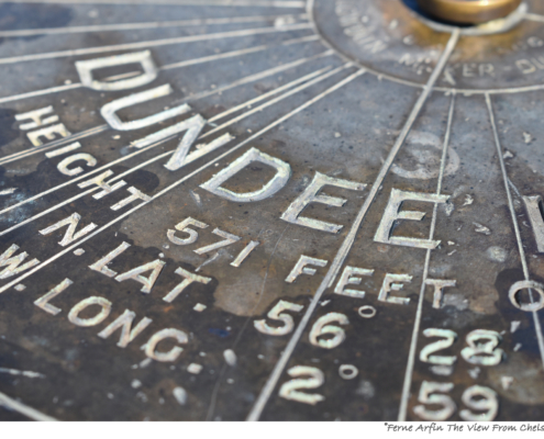 Picture of Dundee orientation table on The Law #dundee #scotland #uk #directions #orientation #graffic #latitide #longitude, bronze #weathered