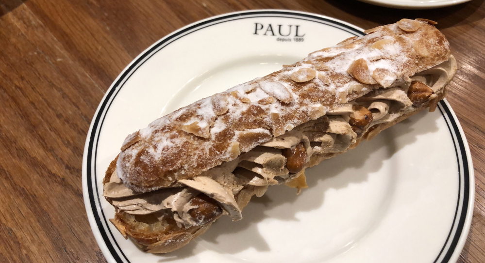 Eclair with hazelnuts at Cafe Paul