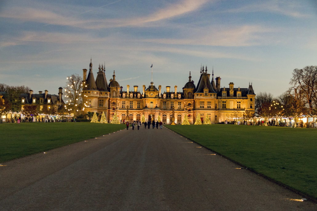 Waddesdon Manor lit up for Christmas, rothschild manor, french chateau in England, ferdinand rothschild, bachelor's house, christmas lights, christmas fairs, christmas in England, twilight, berkshire
