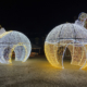 Baubles outlined in christmas lights, christmas lights, england, buckinghamshire, christmas decorations, waddesdon manor, instagram frames, photogenic, playful decorations, holiday lights