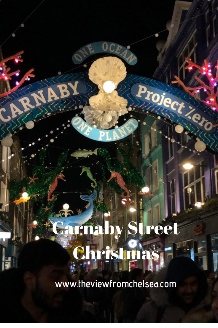 Carnaby Street Christmas lights. Save our planet, save the oceans, holiday lights, sustainable, recycled, environmental themes,