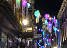 jelly fish christmas decorations, environmental project, carnaby street christmas lights, holiday lights, London christmas lights, London xmas 2019