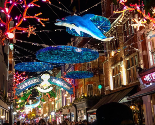 dolphins, starfish and corals made from recycled bubble wrap, carnaby street, christmas lights, london, england, holidays