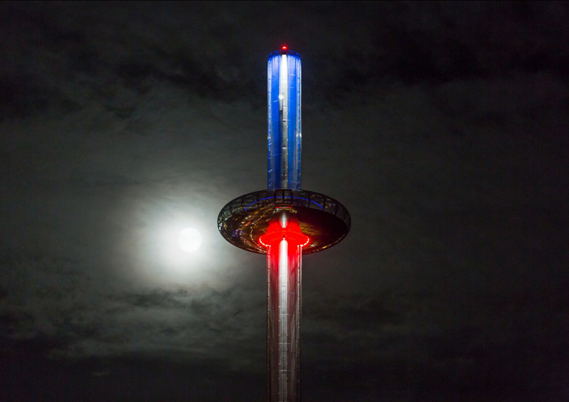 BA i360 with red and blue lights