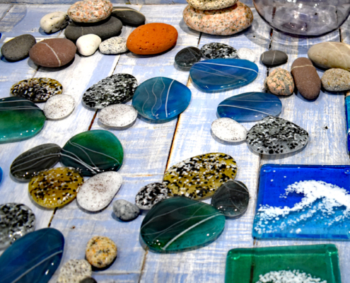 Glass pebbles, fused glass, Scilly artists and makers, Oriel Hicks