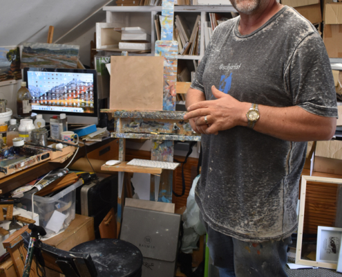 Steve Sherris, studio, crowded studio, small paintings on boards, canvases
