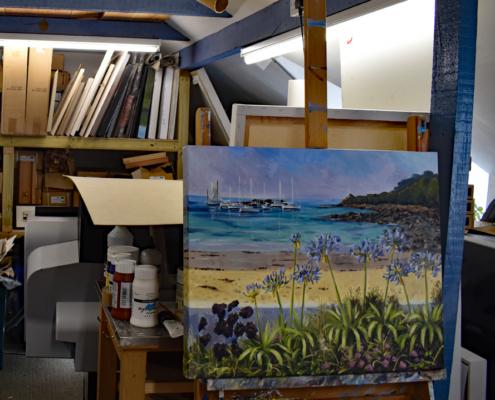 Agapanthus, Steve Sherris, work in studio