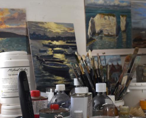 steve sherris, silver street gallery, painters workspace, paintings on boards