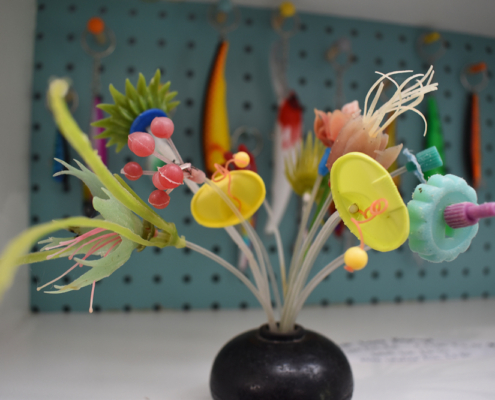 eco-art, found object art, sea plastic, flowers, Artists of Scilly, Scilly Artists