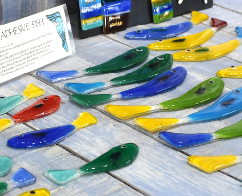 Adhesive fish, glass, decorative fish, Oriel Hicks, Scilly artist