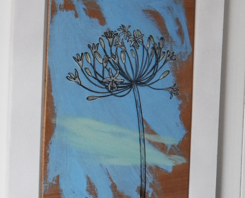 Agapanthus, painting on driftwood, Emma Eberlein, Artists oc Scilly, Scilly artists