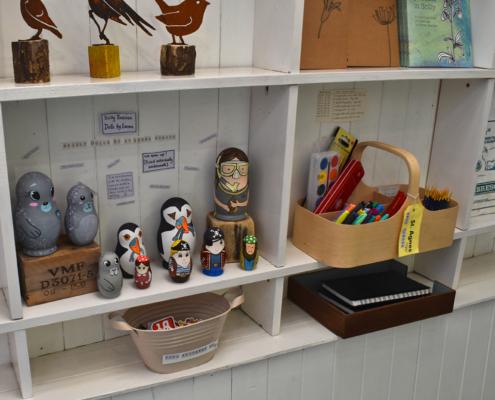 russian dolls, pot buoys gallery, puffins, fishermen, birds