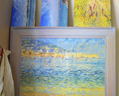 seascapes, Peter Macdonald smithy, impressionist, expressive, oil paintings, yellows an dblues