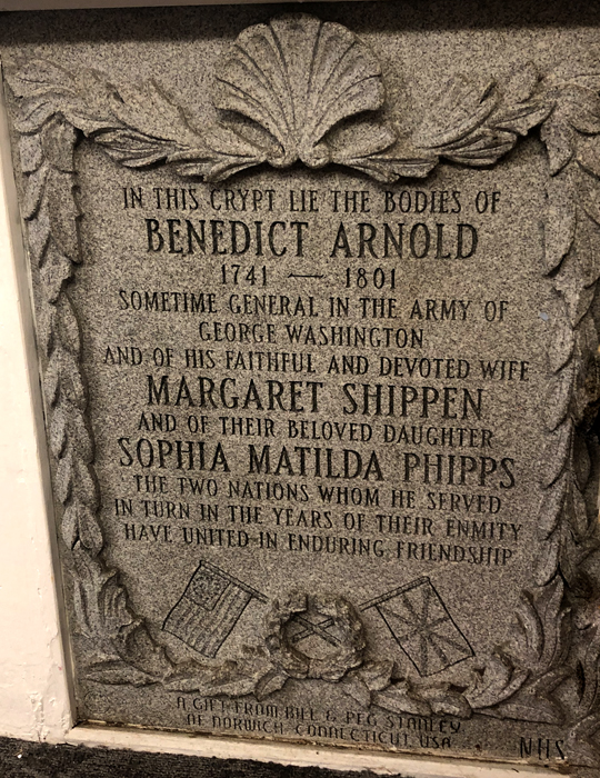 Benedict Arnold, St Mary's Battersea, headstone, American traitor