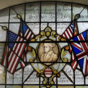 Benedict Arnold stained glass window at St Mary's Church, Battersea London