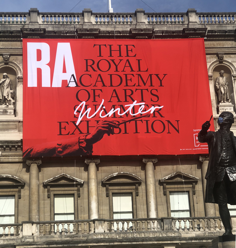 Royal Academy, summer exhibition, banner, statue, Joshua Reynolds, London 2020