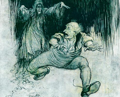A haunting, halloween. scary visions, Arthur Rackham, illustration, public domais