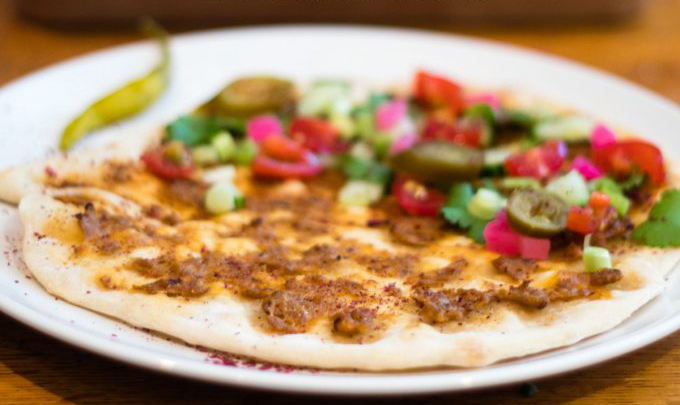Lahmacun , turkish lamb flatbread