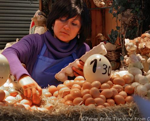 pretty woman, market, barcelona, spain, europe, eggs
