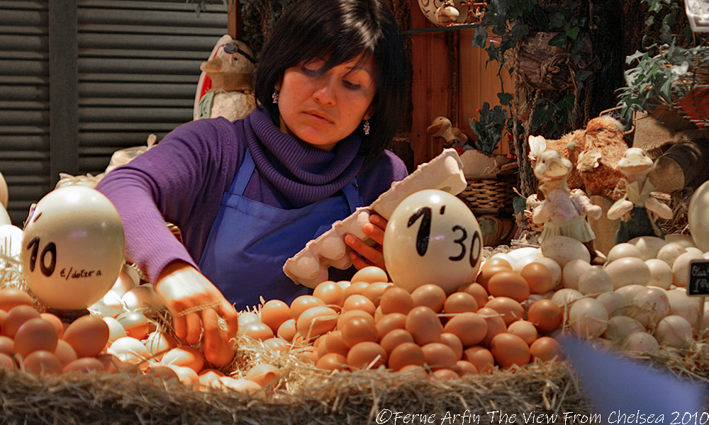 pretty woman, market, barcelona, spain, europe, eggs
