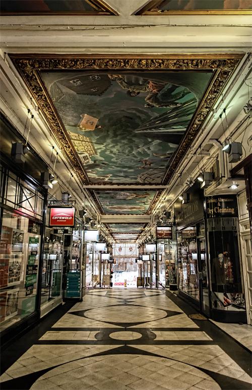 Birmingham England, arcade, shopping arcade, ceiling murals