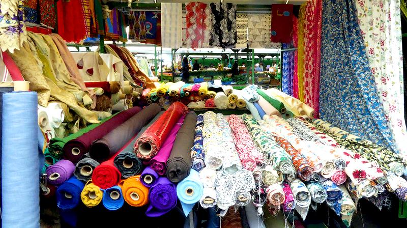 Fabric stall, birmingham, england, rag market, traditional market