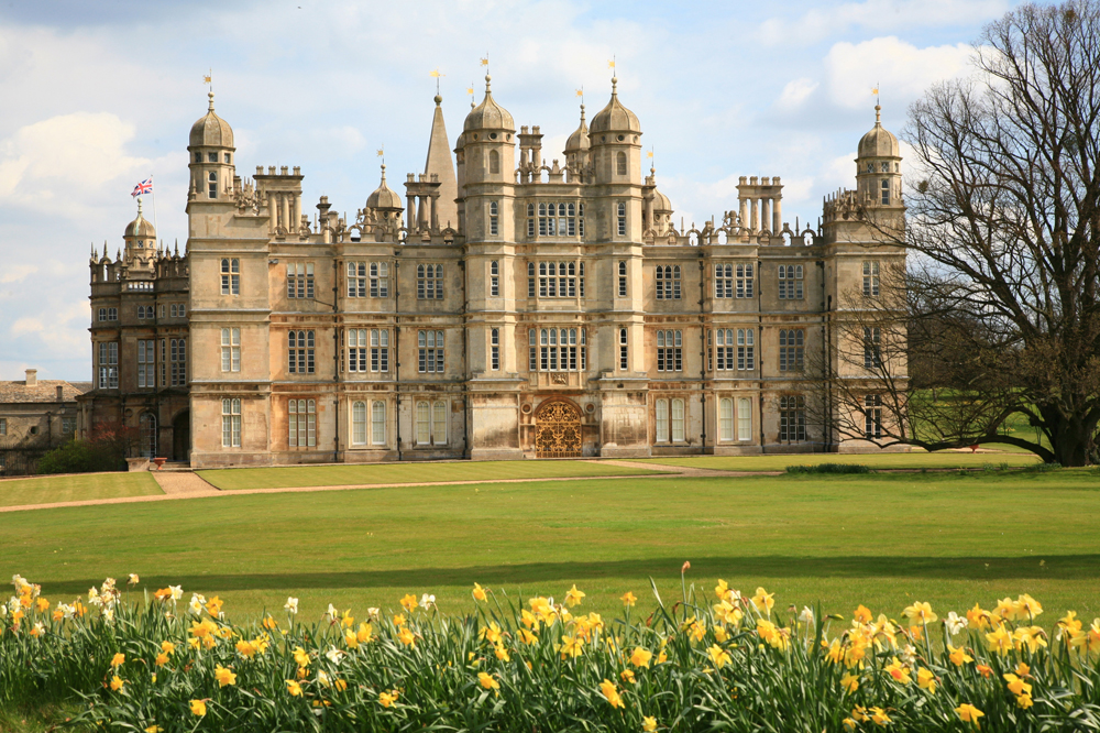 Burghley House, Daffodils, Springtime, England, stately homes, historic houses, Elizabethan prodigy house