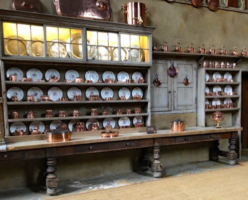 copper jelly molds, Burghley House old kitchen, Stamford, LIncolnshire, England, historic house