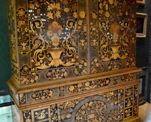 Marquetry Room, Burghley House in Stamford, Dutch marquetry, linen-press