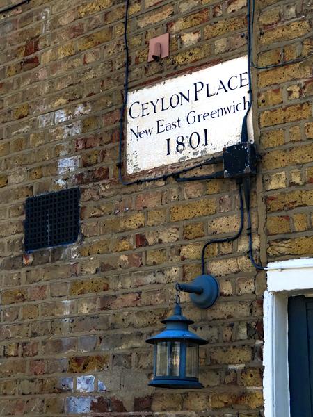 Ceylon Place sign, East Greenwich, Greenwich Peninsula, Georgian Terrace, London, England, the pilot